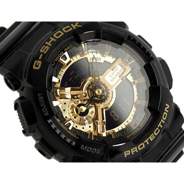 Мъжки часовник CASIO G-SHOCK GOLD BLACK GA-110GB-1AER, черен, златист, полимерна, аналогов и дигитален, с батерия, марков, водоустойчив 20 бара, 20 bar, 20 atm.