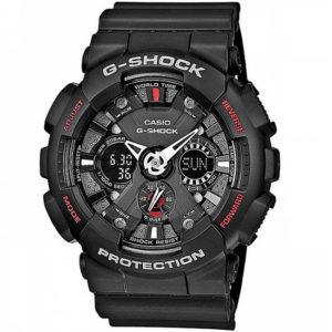Мъжки часовник CASIO G-SHOCK GA-120-1AER, черен, червен, полимерна, аналогов и дигитален, водоустойчив 20 бара, 20 bar, 20 atm.