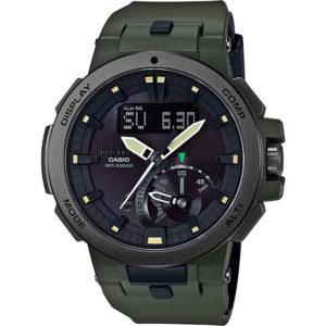 Мъжки часовник CASIO PRO TREK PRW-7000-3ER, Зелен, полимерна,комбиниран,соларен, водоустойчивост: 20 бара, 20 bar, 20 atm.