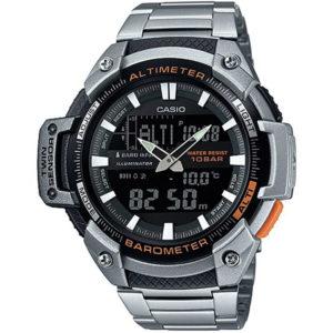 Мъжки часовник CASIO PRO TREK SGW-450HD-1B, сребрист, стомана, с батерия, комбиниран. Водоустойчивост: 10 БАРА, 10 BAR, 10 ATM.
