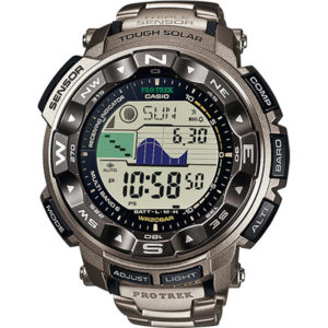 Мъжки часовник CASIO PRO TREK PRW-2500T-7ER, сив, соларен, титаниева сплав, марков. Водоустойчивост: 20 БАРА, 20 BAR, 20 ATM.