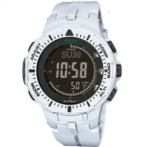Мъжки часовник CASIO PRO TREK PRG-300-7ER, бял, дигитален, полимерна, марков. Водоустойчивост: 10 БАРА, 10 BAR, 10 ATM.