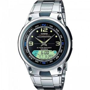 Мъжки часовник CASIO OUTGEAR FISHING AW-82D-1AVES. Водоустойчив 5 БАРА (BAR), Сребрист, Стомана, Риболов. Гаранция 24 месеца. Безплатна доставка. Виж цена.