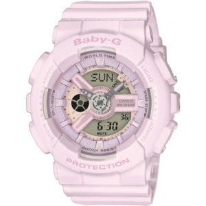 Дамски часовник CASIO BABY-G BA-110-4A2ER, светлорозов, аналогов и дигитален, полимерна, с батерия, марков, 10 бара, 10bar, 10 atm.