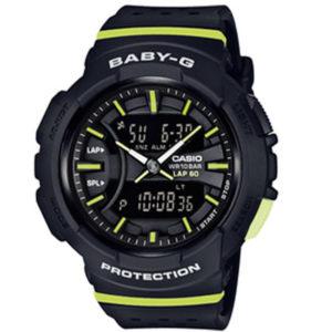 Дамски часовник CASIO BABY-G BGA-240-1A2ER, черен, зелен, аналагов и дигитален, полимерна, с батерия. Водоустойчивост: 10 бара, 10 bar, 10 atm.