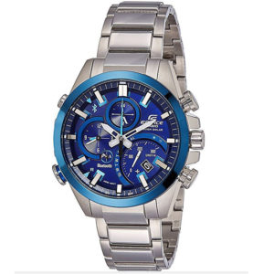 Мъжки часовник CASIO EDIFICE SOLAR BLUETOOTH EQB-500DB-2AER, син, сребрист, bluetooth, аналогов, соларен, стомана, марков. Водоустойчивост: 10 бара, 10 bar, 10 atm.