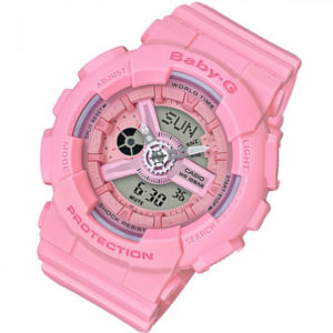 Дамски часовник CASIO BABY-G BA-110-4A1ER, розов, полимерна, с батерия, дигитален и аналогов, марков, водоустойчивост 10 бара, 10 bar, 10 atm.