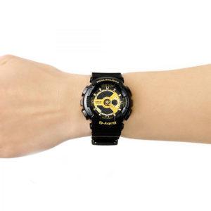 Дамски часовник CASIO BABY-G BA-110-1AER, черен, златист, полимерна, аналогов и дигитален, с батерия, марков, водоустойчивост: 10 бара, 10 bar, 10 atm.