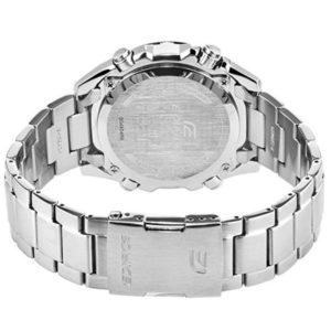 Мъжки часовник CASIO EDIFICE SOLAR EQS-500DB-1A1, сребрист, аналогов, соларен, стомана, марков, водоустойчивост: 10 бара, 10 bar, 10 atm.