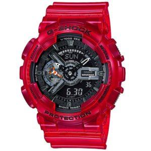 Мъжки часовник Casio G-Shock GA-110CR-4AER. 20 БАРА (BAR), Червен, Комбиниран, Полимерна, С батерия. 24 месеца гаранция. Безплатна доставка.