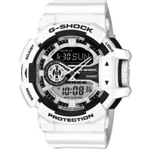Мъжки часовник Casio G-Shock GA-400-7A. 20 БАРА (BAR), Бял, Комбиниран, Полимерна, С батерия. 24 месеца гаранция. Безплатна доставка. Виж цена.